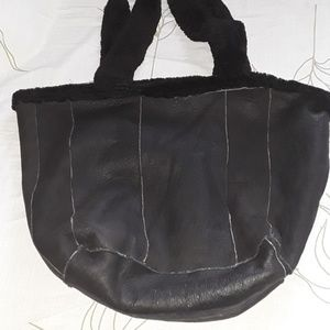 Shearling fur/ leather tote